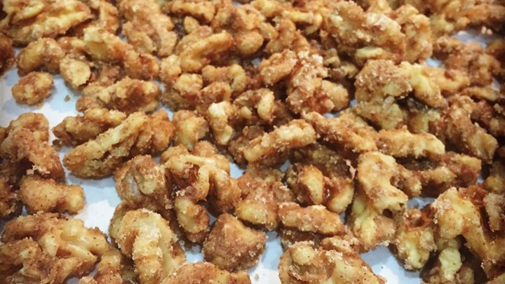 Candied Pecans And Herbed Toasted Walnuts Recipe — Dishmaps