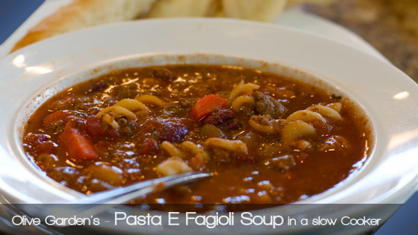Olive Garden Pasta E Fagioli Soup in a slow cooker