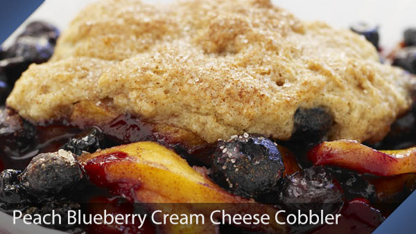 Peach Blueberry Cream Cheese Cobbler