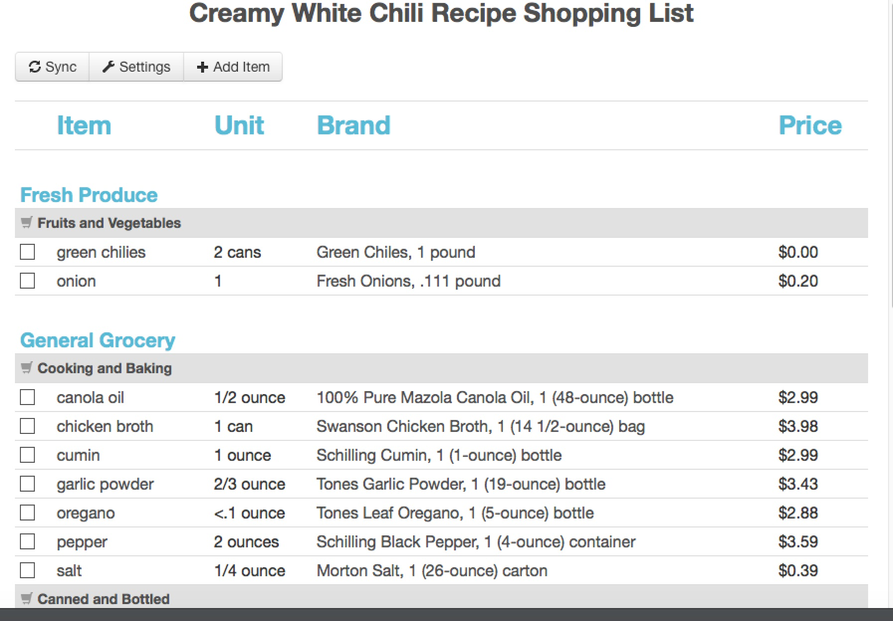 recipe to shopping list