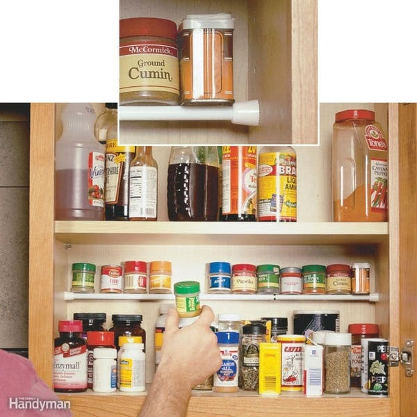 Add An Inexpensive Tension Rod Close To The Back Of The Cabinet And It  Instantly Creates A Shelf For Small Containers. This Is Most Likely Just  Dead Space ...