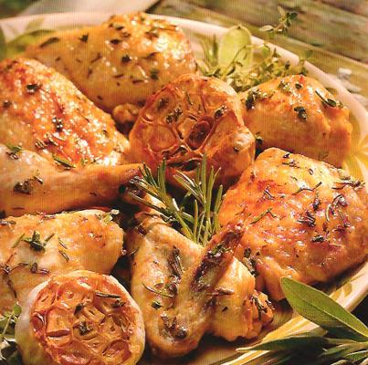 Herb Chicken with Roasted Garlic