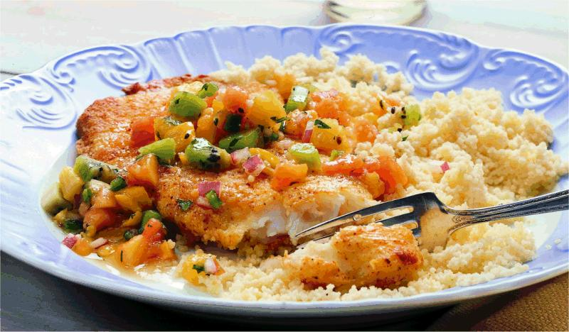 Crispy baked fish with tropical fruit salsa for Crispy baked whiting fish recipes