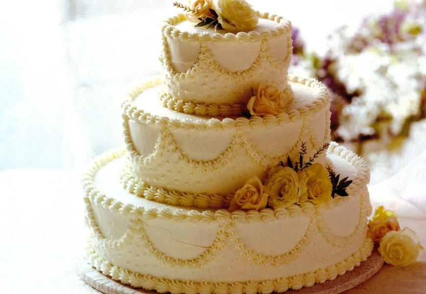 Wedding Cake Recipe.Classic White Wedding Cake