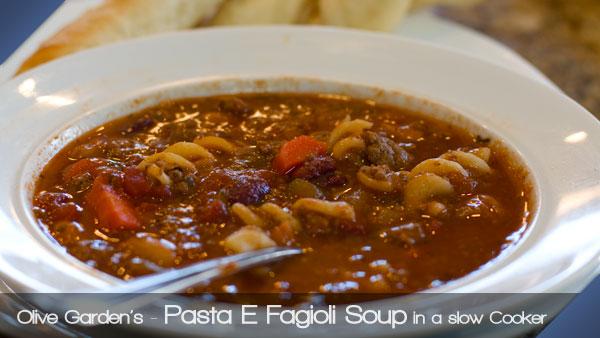 Olive Garden Pasta E Fagioli Soup in a slow cooker